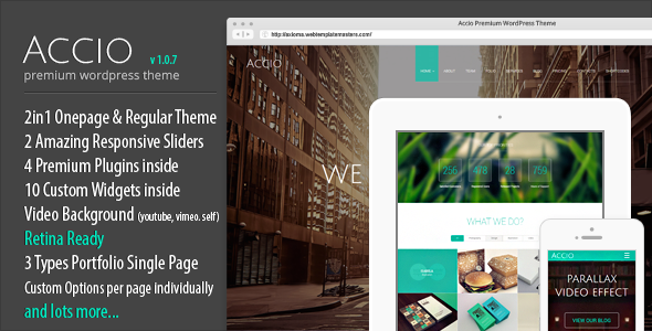 Accio One Page Parallax Responsive WordPress Theme