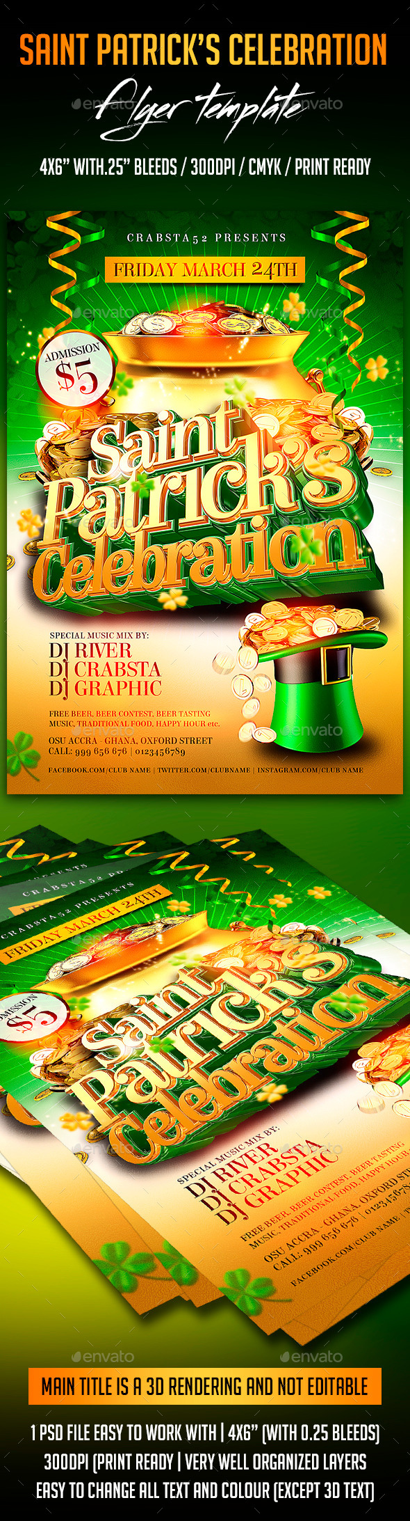 Saint Patrick's Celebration - Flyers Print Templates