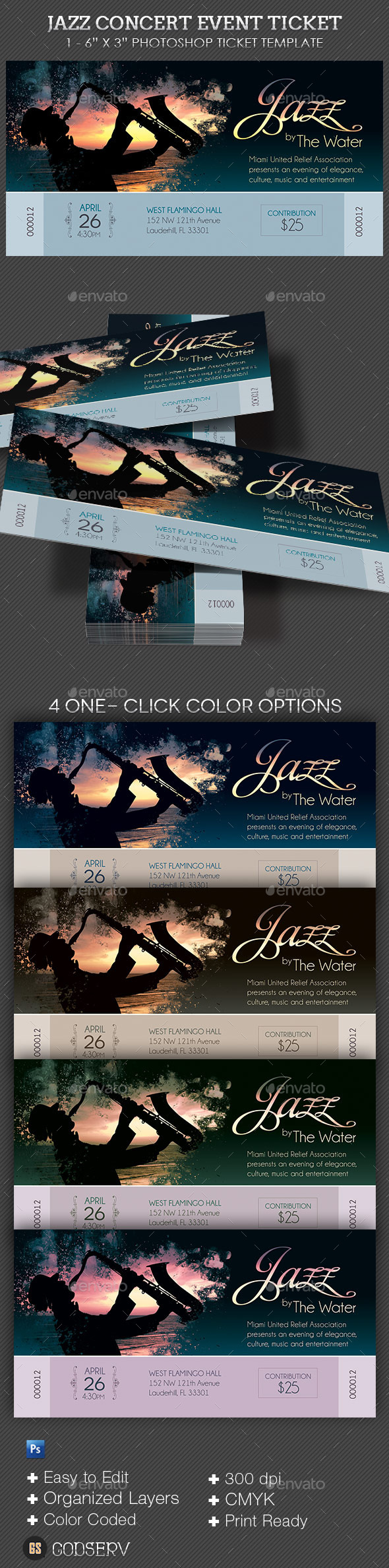 Jazz Concert Event Ticket - Miscellaneous Print Templates