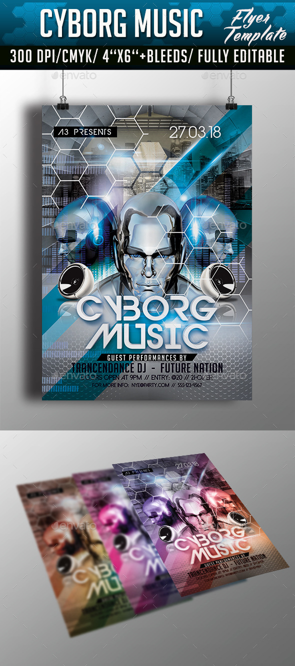 Cyborg Music Flyer Template - Clubs & Parties Events