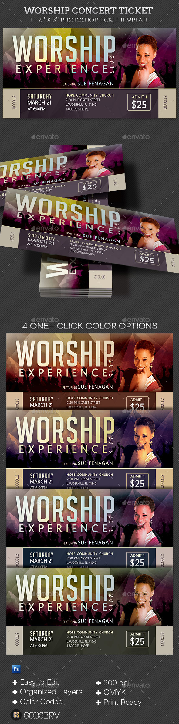 Worship Concert Ticket Template by Godserv GraphicRiver