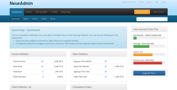 Free Download NeueAdmin - CMS and CRM Template Nulled Latest Version