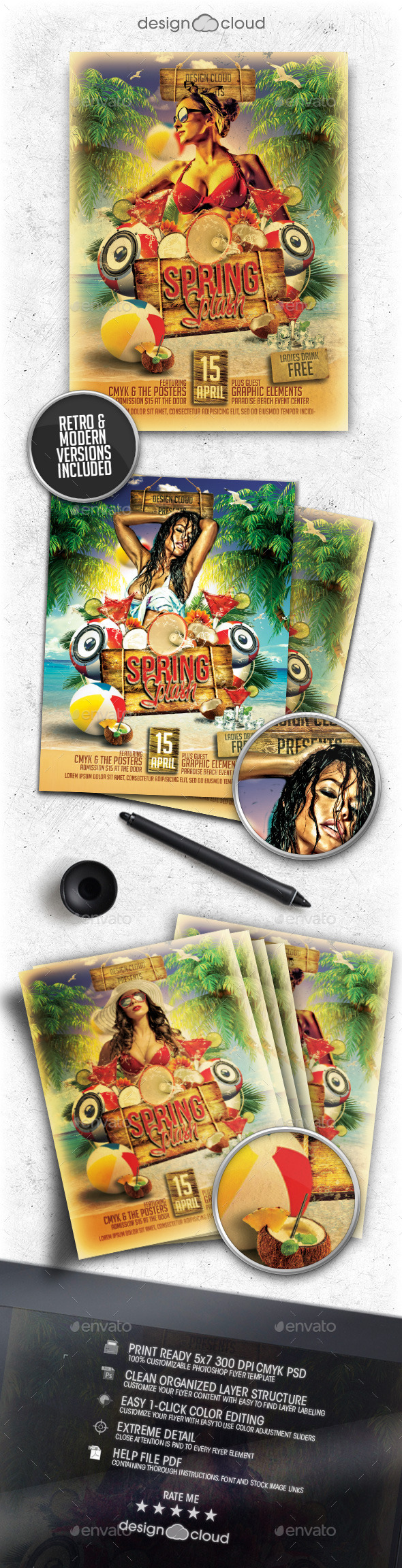 Spring Splash Flyer Template - Clubs & Parties Events