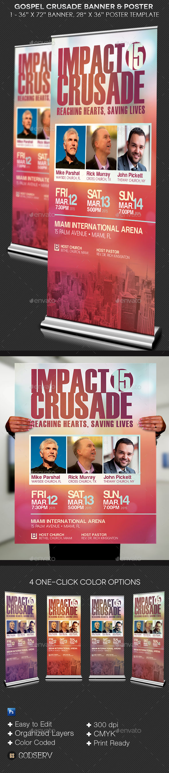 Gospel Crusade Banner Plus Poster Template - Signage Print Templates