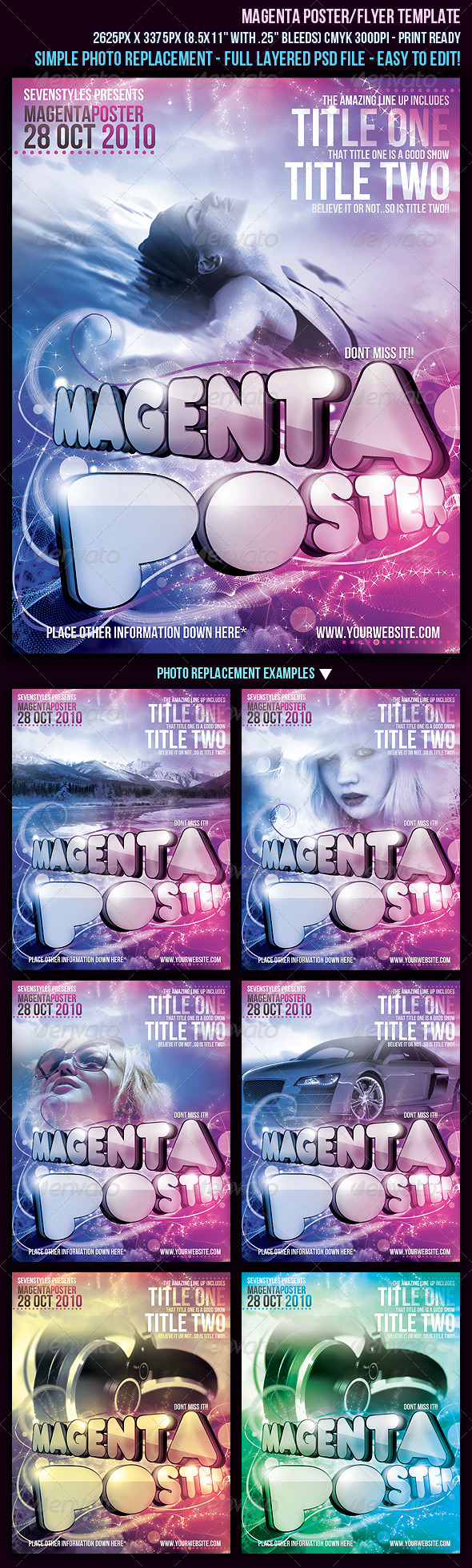 Magenta Poster/Flyer Template - Clubs & Parties Events