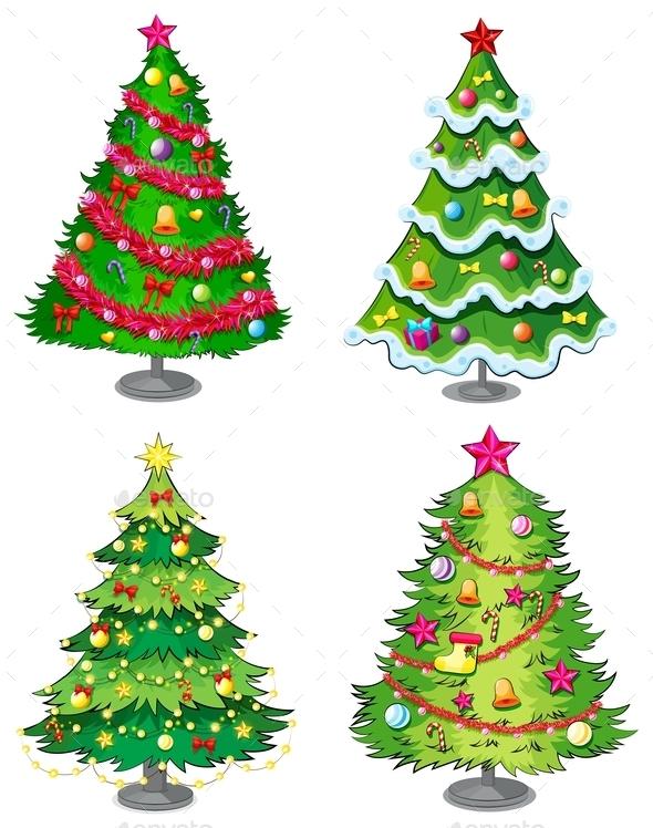 Four Christmas Trees - Christmas Seasons/Holidays