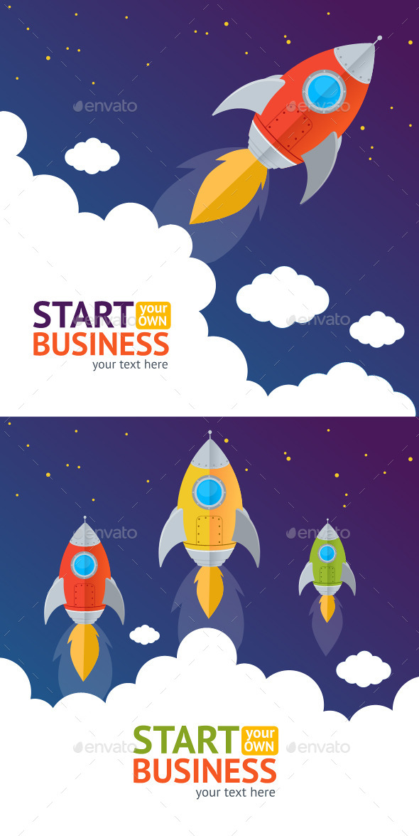 Vector Rocket Card - Business Conceptual