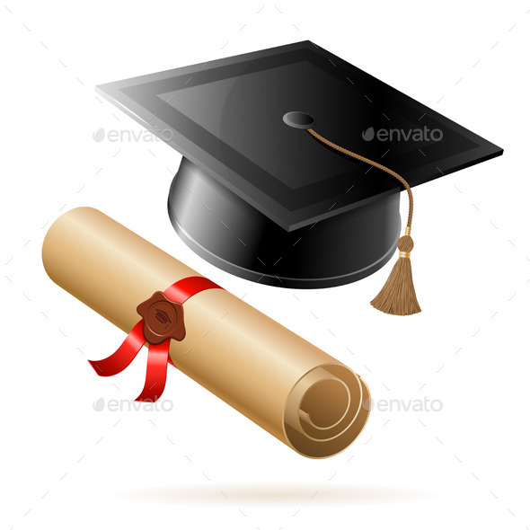 Graduation Cap and Diploma - Man-made Objects Objects