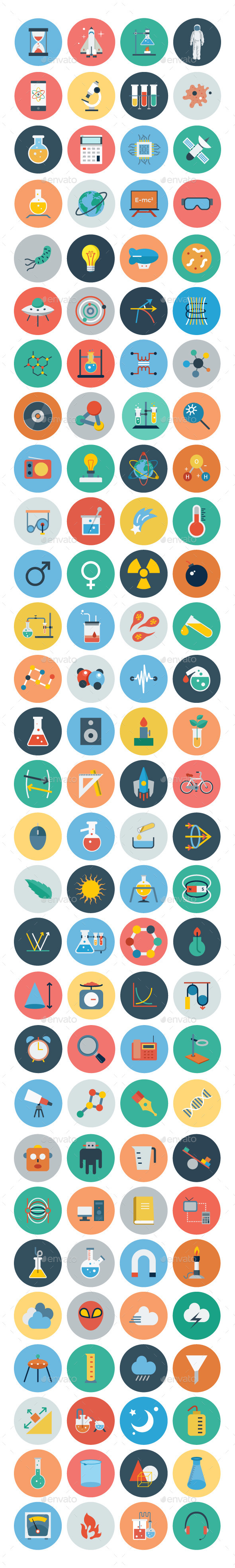 100+ Science & Technology Flat Icons - Technology Icons