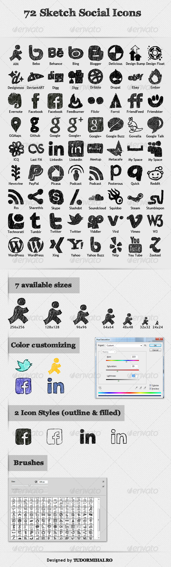 72 Sketch Social Icons  - Web Icons
