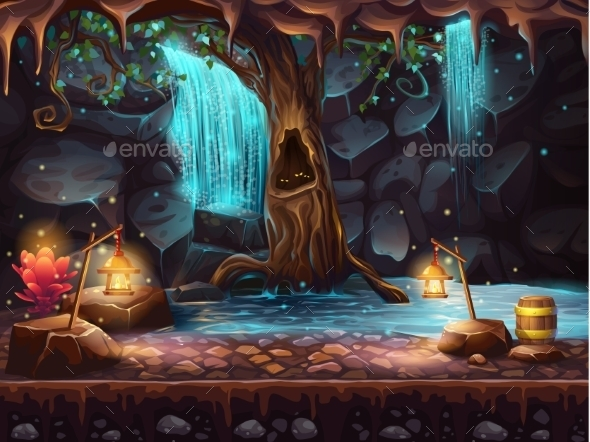 Cave With Waterfall and Magic Tree  - Conceptual Vectors