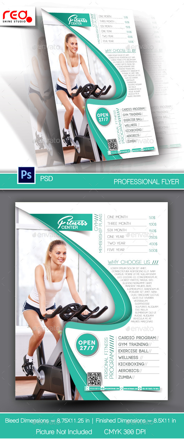 Fitness Center Flyer & Poster Template - Sports Events