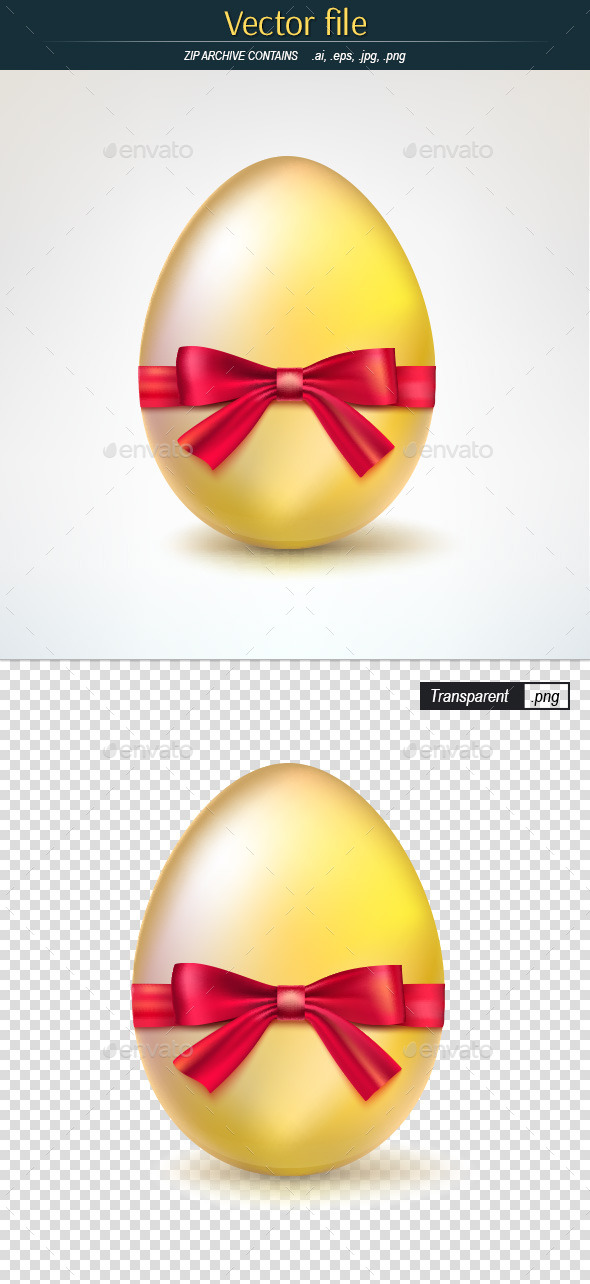 Golden Egg Tied with Red Ribbon - Man-made Objects Objects