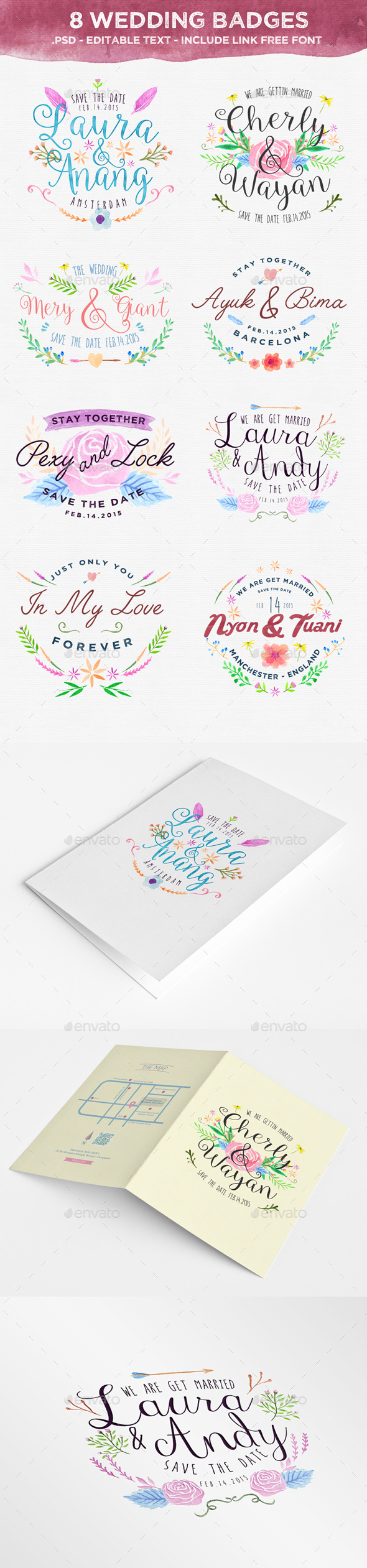 8 Wedding Badges - Badges & Stickers Web Elements