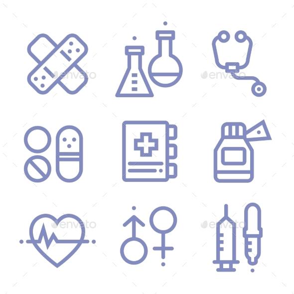 Contour Simple Medical Icons Set - Health/Medicine Conceptual
