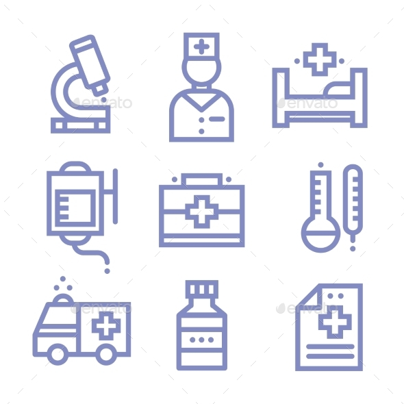 Contour Simple Medical Icons Set - Health/Medicine Conceptual