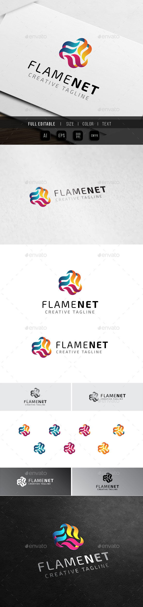 Flame Multimedia - Fire Media - Abstract Logo Templates