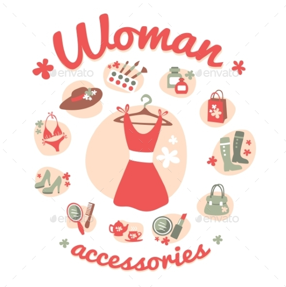 Woman Accessories Icons - Retail Commercial / Shopping
