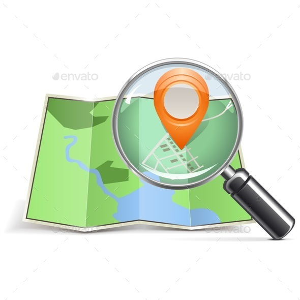 Vector Loupe with Map Pointer - Travel Conceptual