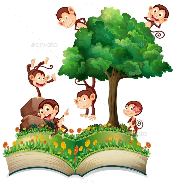 Monkeys and Tree - Animals Characters