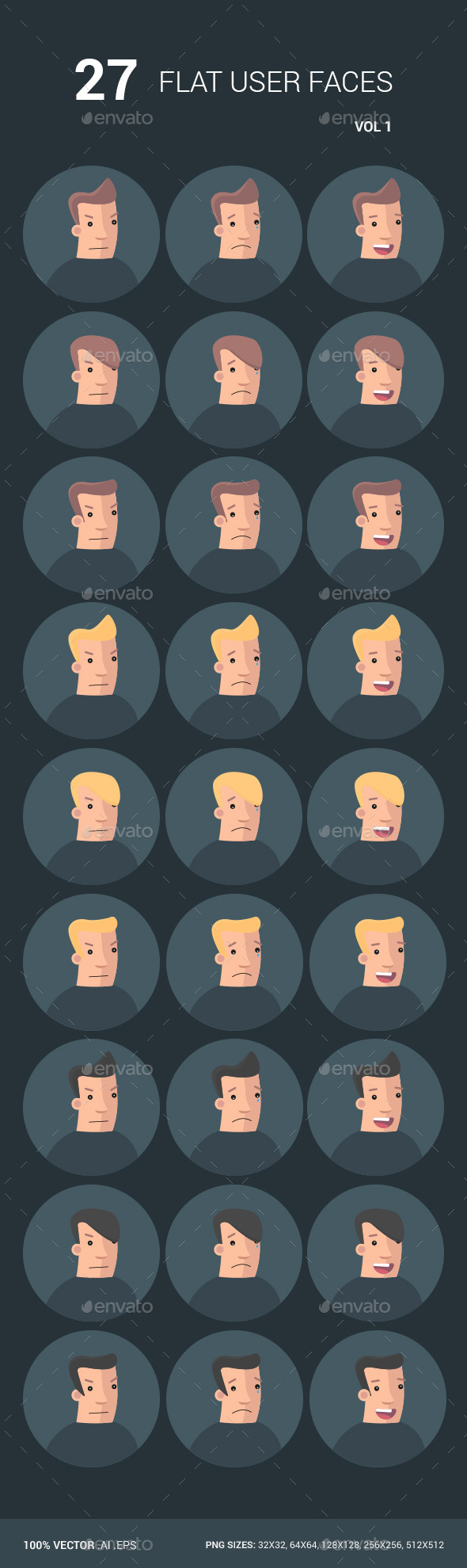 27 Flat User Faces - People Characters