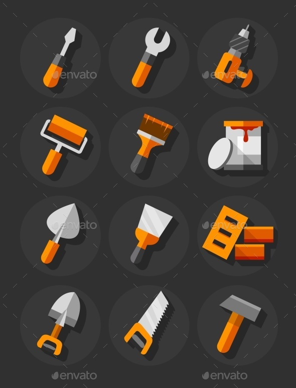 Working Tools For Construction and Repair Flat - Web Elements Vectors