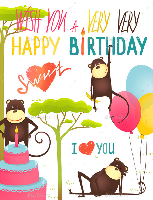 Monkey Fun Happy Birthday Card With Lettering By Popmarleo