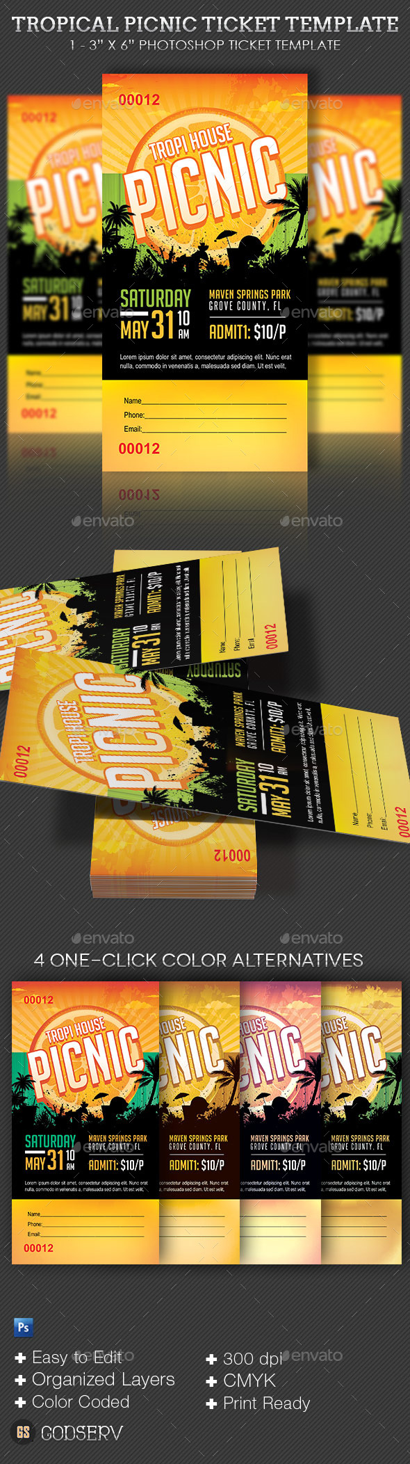 Tropical Picnic Ticket Template - Miscellaneous Print Templates