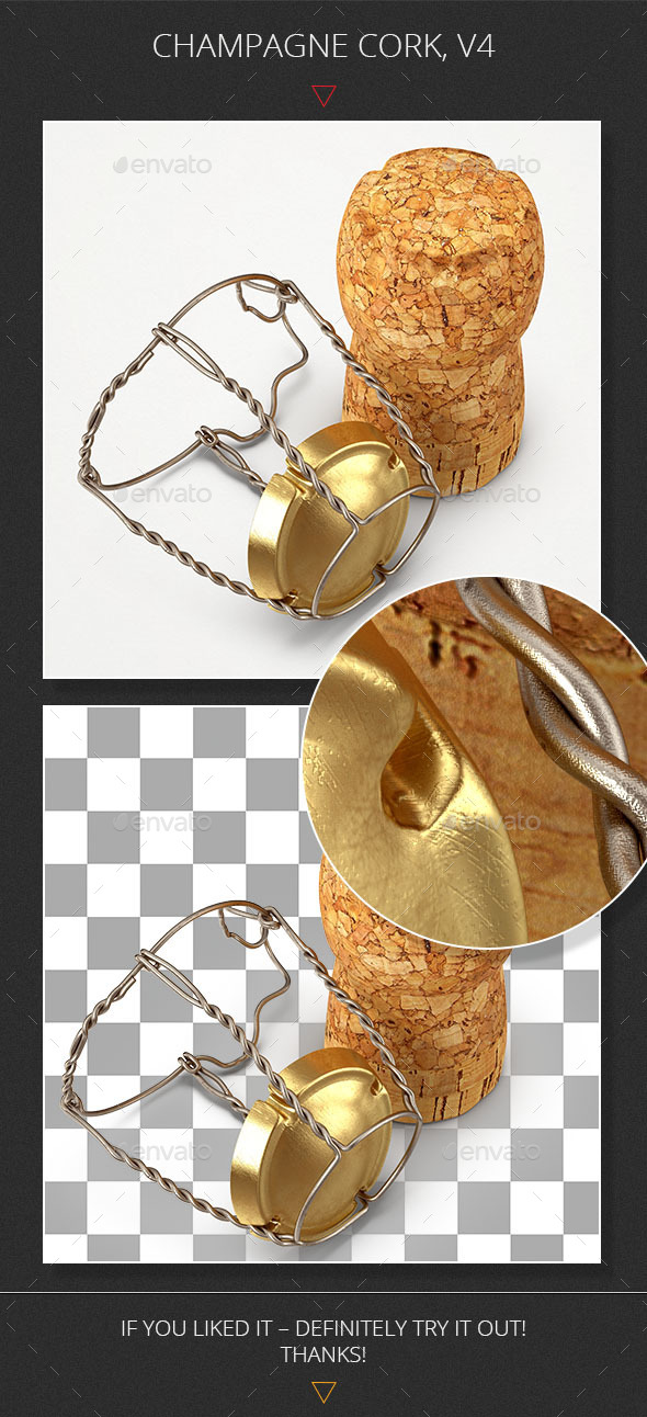 Champagne Cork, V4 - Objects 3D Renders