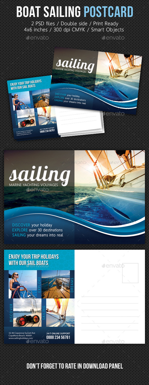 Boat Sailing Postcard Template V02 - Cards & Invites Print Templates