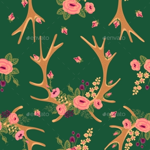 Deer Antlers with Flowers Pattern - Patterns Decorative