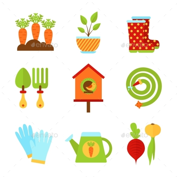 Set of Flat Isolated Garden Icons Vector Illustra - Icons