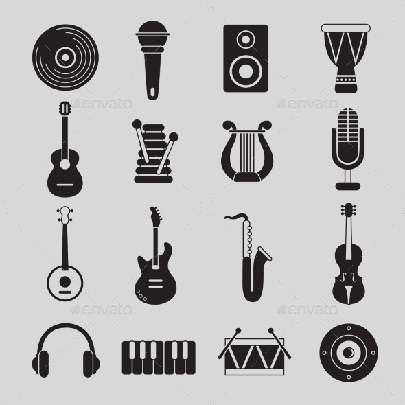 Set of Black and White Musical Instruments - Icons
