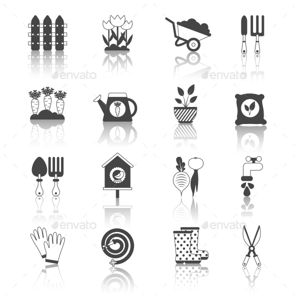 Set of Black and White Isolated Garden Icons Vect - Miscellaneous Icons
