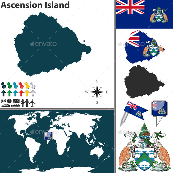 Map of Ascension Island - Travel Conceptual