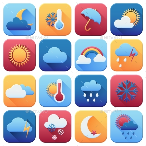 Set of Weather Icons - Seasons Nature