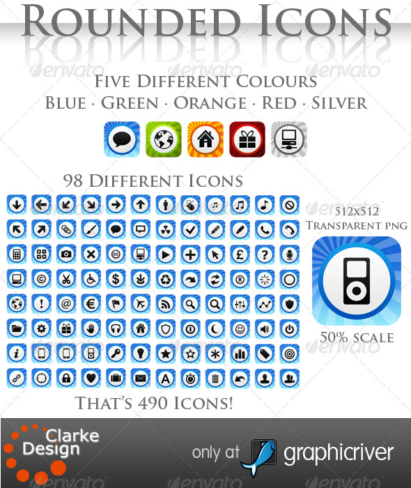 A collection of Rounded Icons - Web Icons