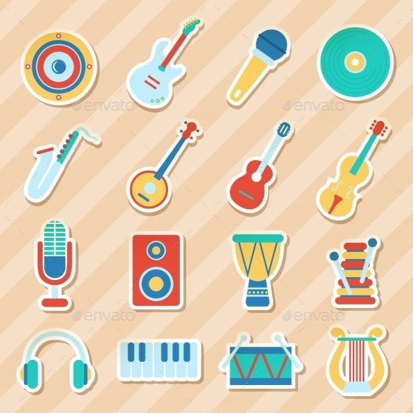 Set of Musical Stickers - Miscellaneous Conceptual