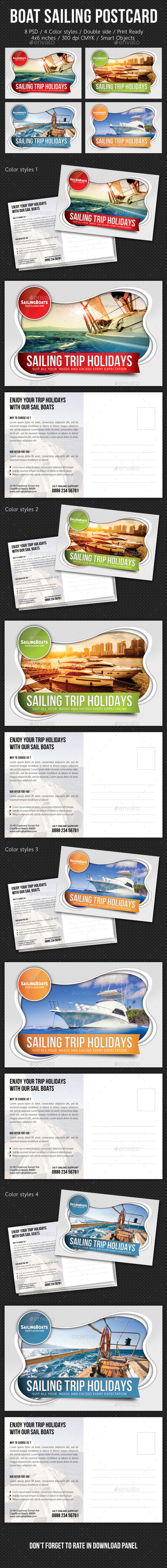 Boat Sailing Postcard Template V03 - Cards & Invites Print Templates