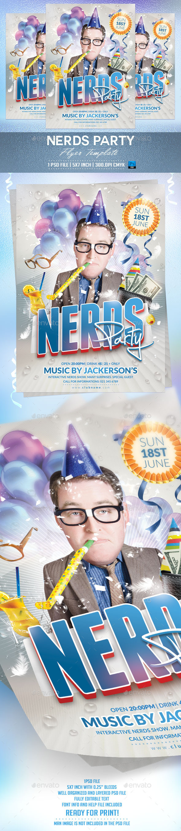 Nerds Party Flyer Template - Clubs & Parties Events