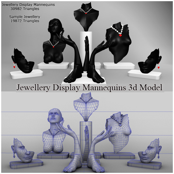 Jewellery Display Mannequins 3d Model - 3DOcean Item for Sale