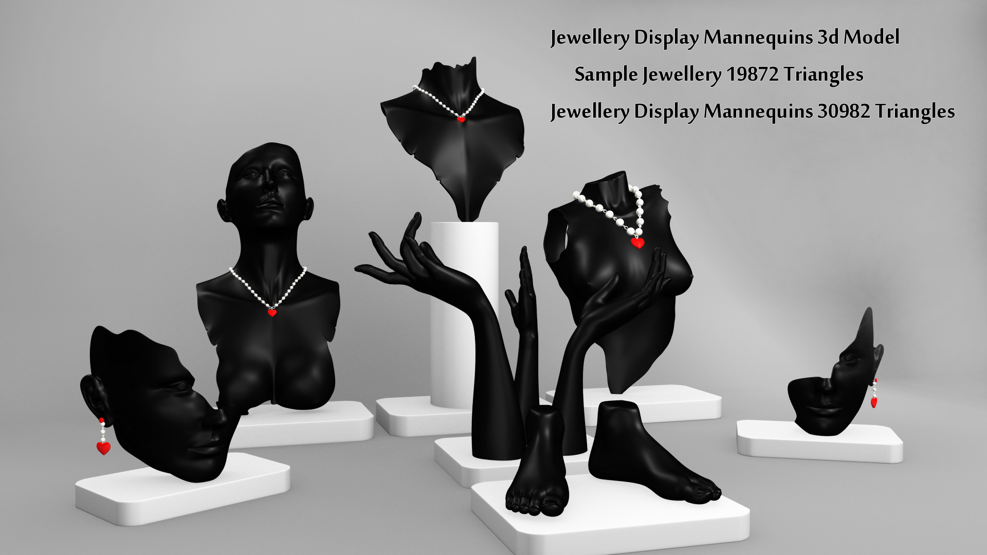 Jewellery Display Mannequins 3d Model By Bhuship 3docean