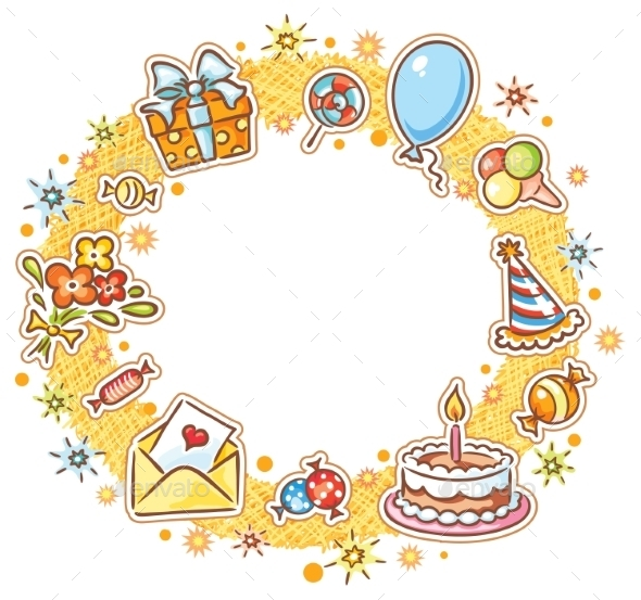 Round Birthday Frame - Borders Decorative