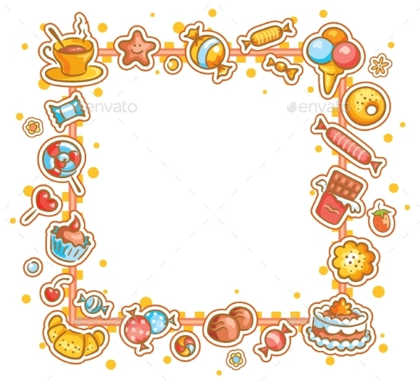 Square Frame with Different Sweets - Borders Decorative