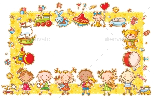 Rectangular Frame with Cartoon Kids - Borders Decorative