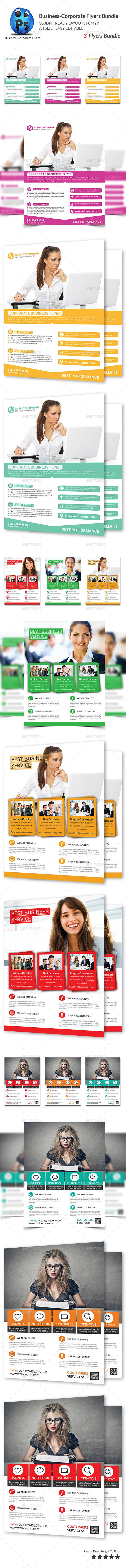 Corporate Business 3 Flyer Bundle - Flyers Print Templates