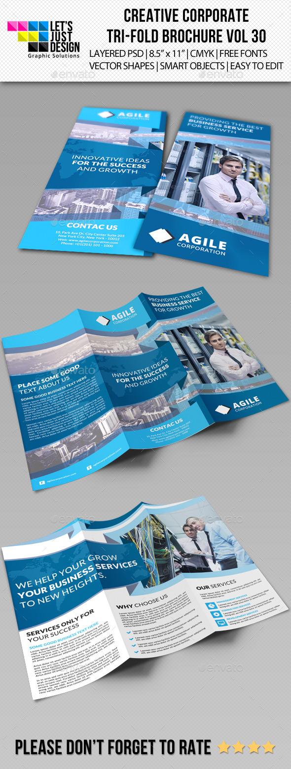 Creative Corporate Tri-Fold Brochure Vol 30 - Corporate Brochures