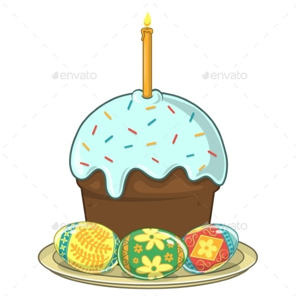 Easter Traditional Cake and Eggs - Miscellaneous Seasons/Holidays