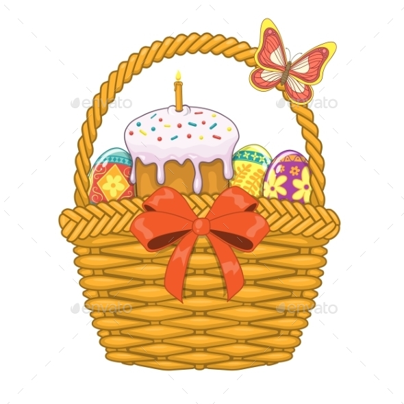 Basket with Easter Eggs and Cake   - Miscellaneous Seasons/Holidays