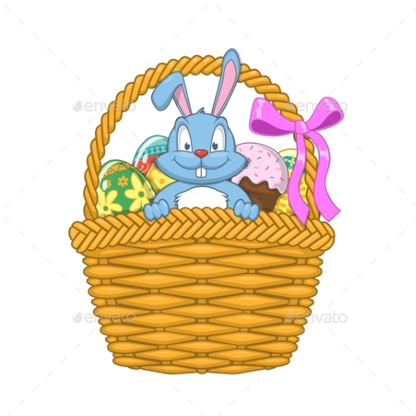 Easter Basket with Rabbit and Eggs - Miscellaneous Seasons/Holidays